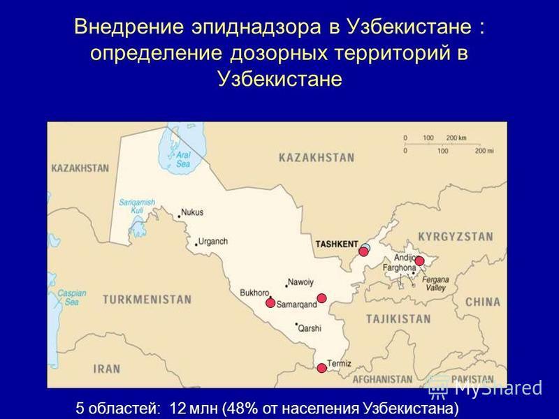 Внедрение эпиднадзора в Узбекистане : определение дозорных территорий в Узбекистане 5 областей: 12 млн (48% от населения Узбекистана)