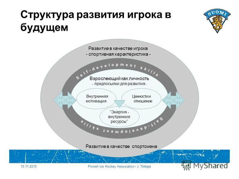 Развитие в качестве игрока - спортивная характеристика - Развитие в качестве спортсмена Структура развития игрока в будущем Взрослеющий как личность - предпосылки для развития- Ценности и отношение Энергия - внутренние ресурсы Внутренняя мотивация 15