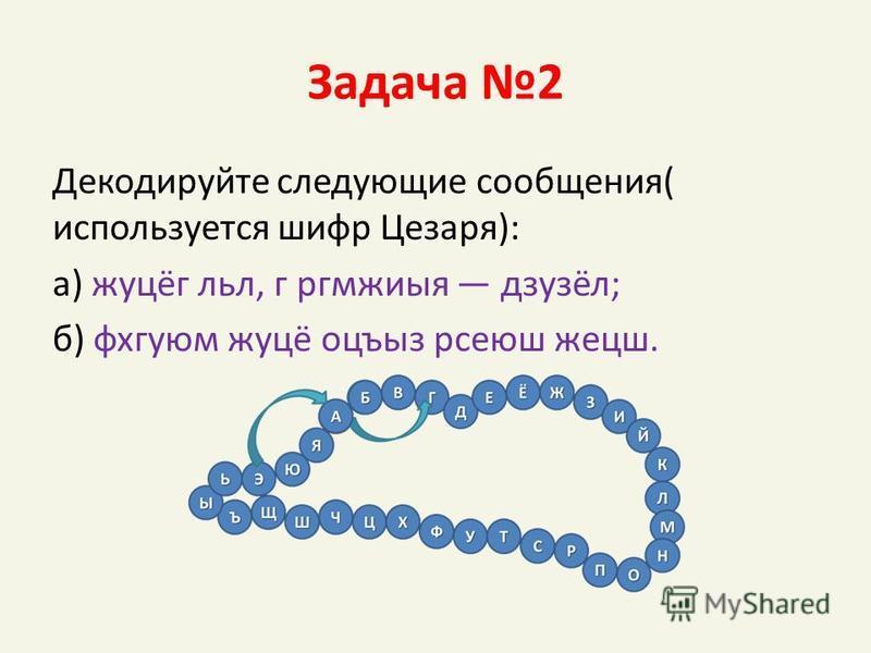 Задача 2 Декодируйте следующие сообщения( используется шифр Цезаря): а) жуцёг лил, г ргмжиыя дзузёл; б) фхгуюм жуцё оцъыз рсеюш жецш.