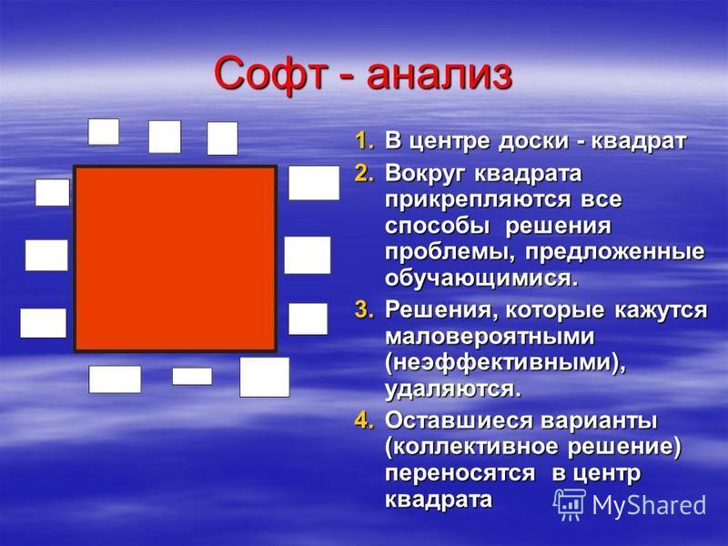 Софт - анализ 1. В центре доски - квадрат 2. В округ квадрата прикрепляются все способы решения проблемы, предложенные обучающимися. 3. Р ешения, которые кажутся маловероятными (неэффективными), удаляются. 4. О ставшиеся варианты (коллективное решени