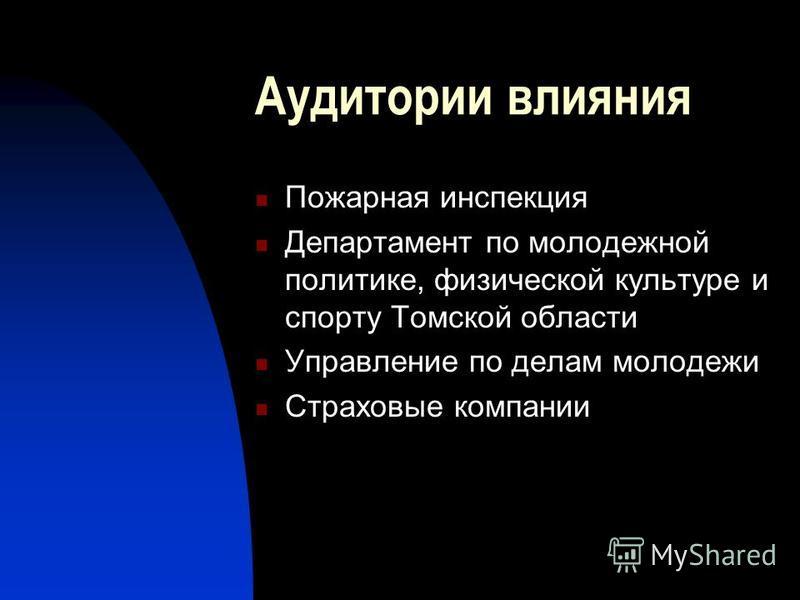 Аудитории влияния Пожарная инспекция Департамент по молодежной политике, физической культуре и спорту Томской области Управление по делам молодежи Страховые компании