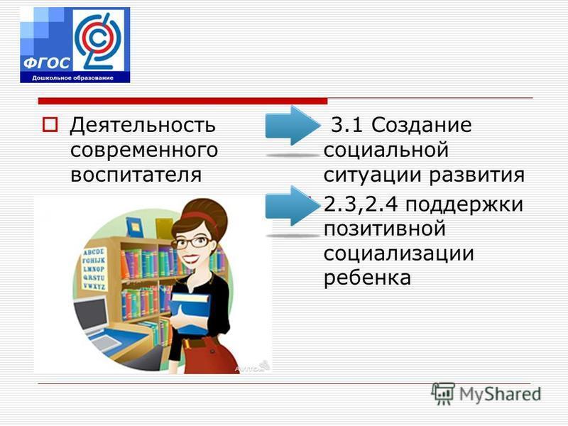 Деятельность современного воспитателя 3.1 Создание социальной ситуации развития 2.3,2.4 поддержки позитивной социализации ребенка
