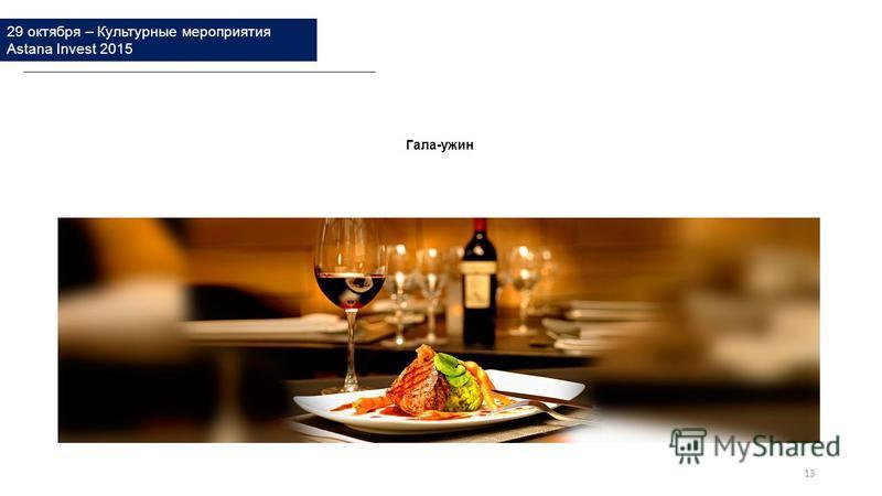 29 октября – Культурные мероприятия Astana Invest 2015 Гала-ужин 13