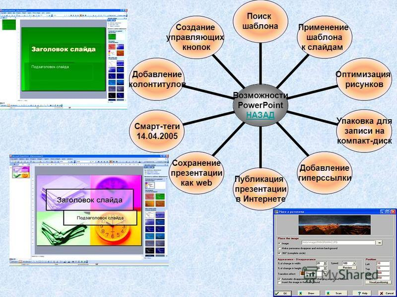 Возможности PowerPoint НАЗАД Поиск шаблона Применение шаблона к слайдам Оптимизация рисунков Упаковка для записи на компакт-диск Добавление гиперссылки Публикация презентации в Интернете Сохранение презентации как web Смарт-теги 14.04.2005 Добавление