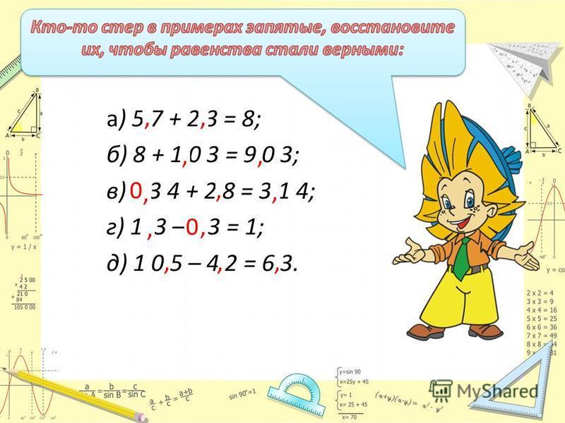 а) 5 7 + 2 3 = 8; б) 8 + 1 0 3 = 9 0 3; в) 3 4 + 2 8 = 3 1 4; г) 1 3 – 3 = 1; д) 1 0 5 – 4 2 = 6 3.,,,,, 0,,,, 0,,,