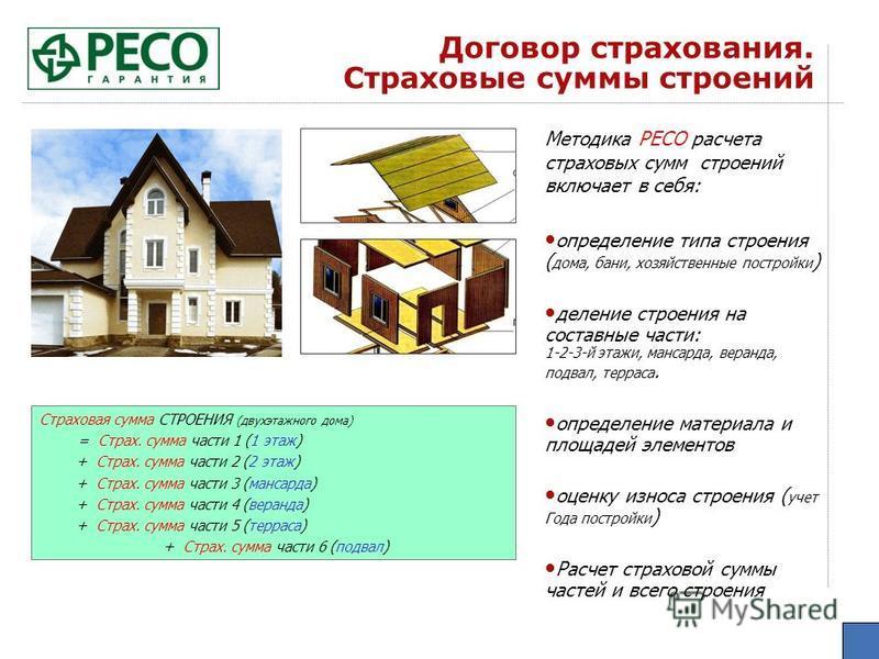 Договор страхования. Страховые суммы строений Методика РЕСО расчета страховых сумм строений включает в себя: определение типа строения ( дома, бани, хозяйственные постройки ) деление строения на составные части: 1-2-3-й этажи, мансарда, веранда, подв