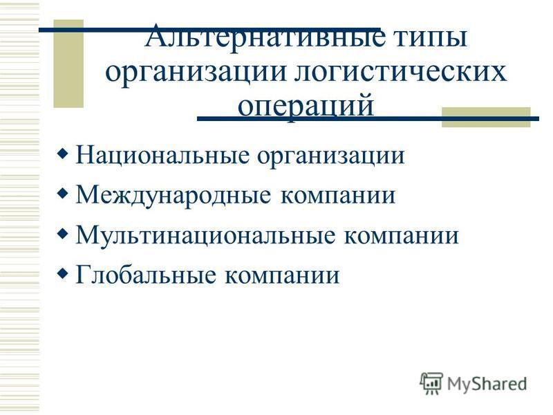 Альтернативные типы организации логистических операций Национальные организации Международные компании Мультинациональные компании Глобальные компании