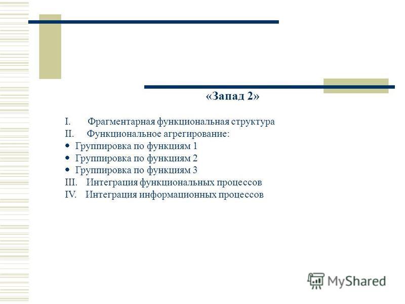 «Запад 2» I. Фрагментарная функциональная структура II. Функциональное агрегирование: Группировка по функциям 1 Группировка по функциям 2 Группировка по функциям 3 III. Интеграция функциональных процессов IV. Интеграция информационных процессов
