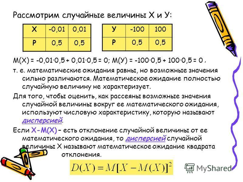 Рассмотрим случайные величины Х и У: М(Х) = -0,010,5 + 0,010,5 = 0; М(У) = -1000,5 + 1000,5 = 0 т. е. математические ожидания равны, но возможные значения сильно различаются. Математическое ожидание полностью случайную величину не характеризует. Для