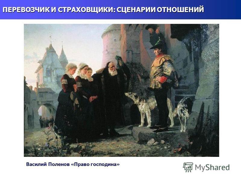 ПЕРЕВОЗЧИК И СТРАХОВЩИКИ: СЦЕНАРИИ ОТНОШЕНИЙ Василий Поленов «Право господина»