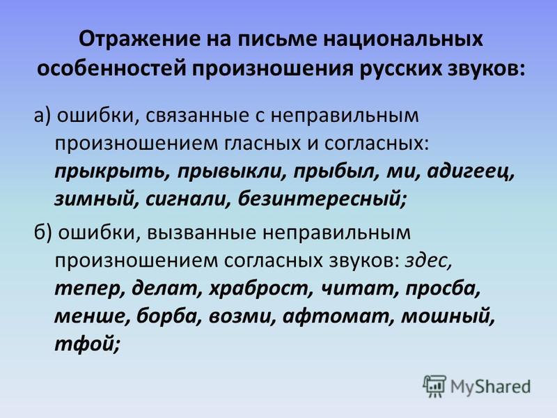 Отражение на письме национальных особенностей произношения русских звуков: а) ошибки, связанные с неправильным произношением гласных и согласных: прикрыть, привыкли, прибыль, ми, адыгеец, зимний, сигналы, безынтересный; б) ошибки, вызванные неправиль