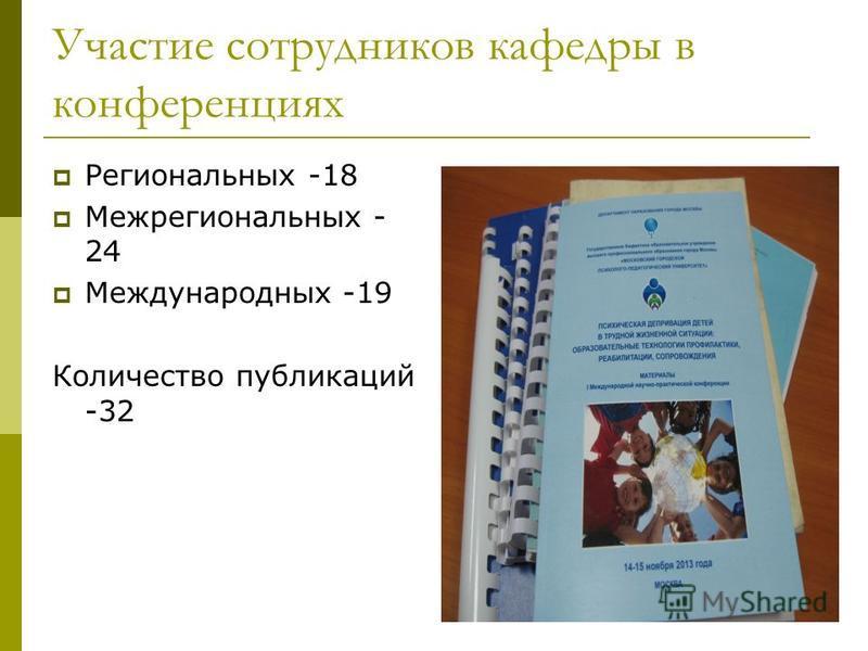 Участие сотрудников кафедры в конференциях Региональных -18 Межрегиональных - 24 Международных -19 Количество публикаций -32