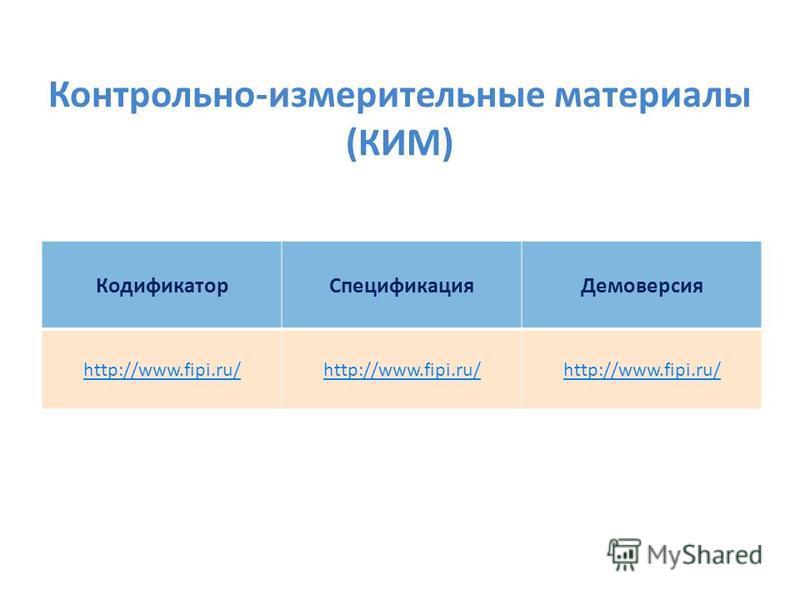 Контрольно-измерительные материалы (КИМ) Кодификатор СпецификацияДемоверсия http://www.fipi.ru/