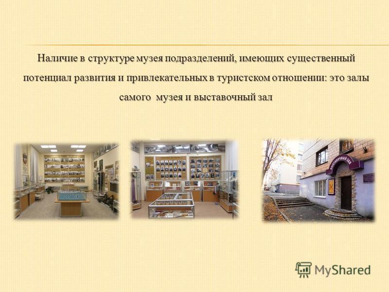 Наличие в структуре музея подразделений, имеющих существенный потенциал развития и привлекательных в туристском отношении: это залы самого музея и выставочный зал