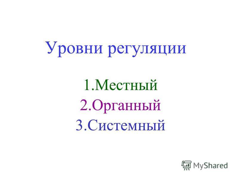 Уровни регуляции 1. Местный 2. Органный 3.Системный
