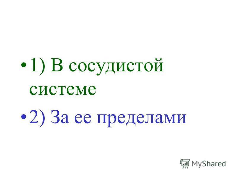 1) В сосудистой системе 2) За ее пределами