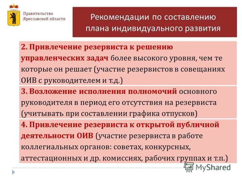 Правительство Ярославской области Рекомендации по составлению плана индивидуального развития 2. Привлечение резервиста к решению управленческих задач более высокого уровня, чем те которые он решает ( участие резервистов в совещаниях ОИВ с руководител