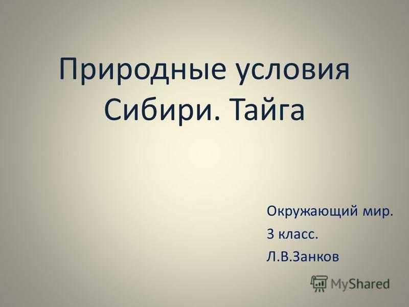 Природные условия Сибири. Тайга Окружающий мир. 3 класс. Л.В.Занков