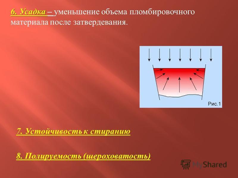 6. Усадка 6. Усадка – уменьшение объема пломбировочного материала после затвердевания. 7. Устойчивость к стиранию 8. Полируемость ( шероховатость )