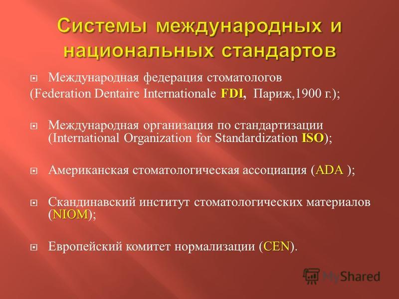 Международная федерация стоматологов FDI (Federation Dentaire Internationale FDI, Париж,1900 г.); ISO Международная организация по стандартизации (International Organization for Standardization ISO ); ADA Американская стоматологическая ассоциация (AD