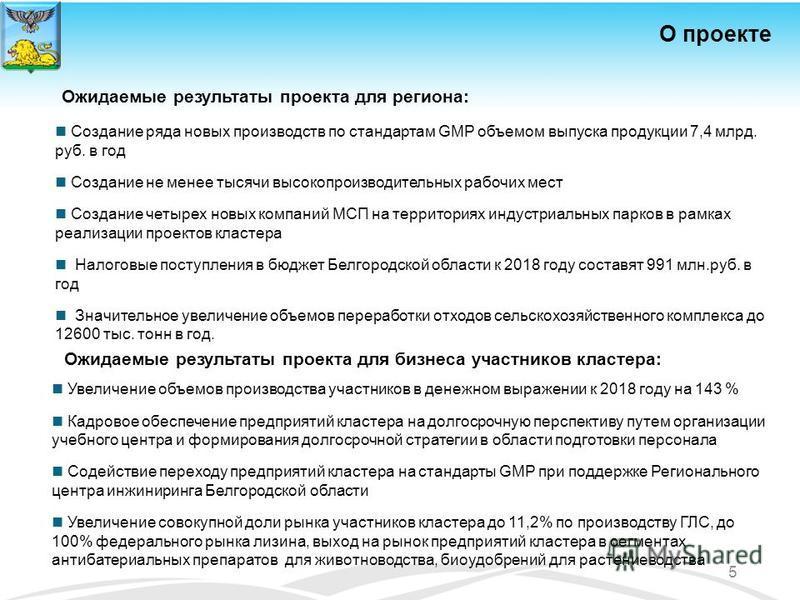 Создание ряда новых производств по стандартам GMP объемом выпуска продукции 7,4 млрд. руб. в год Создание не менее тысячи высокопроизводительных рабочих мест Создание четырех новых компаний МСП на территориях индустриальных парков в рамках реализации