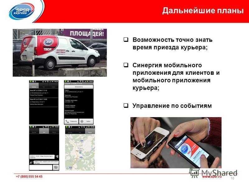 +7 (800) 555 54 45 www.spsr.ru Возможность точно знать время приезда курьера; Синергия мобильного приложения для клиентов и мобильного приложения курьера; Управление по событиям Дальнейшие планы 10