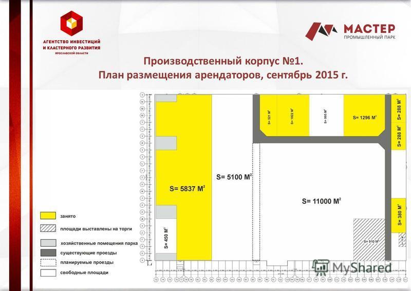 Производственный корпус 1. План размещения арендаторов, сентябрь 2015 г.