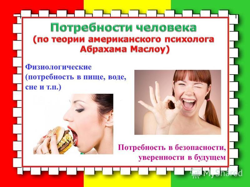 Физиологические (потребность в пище, воде, сне и т.п.) Потребность в безопасности, уверенности в будущем