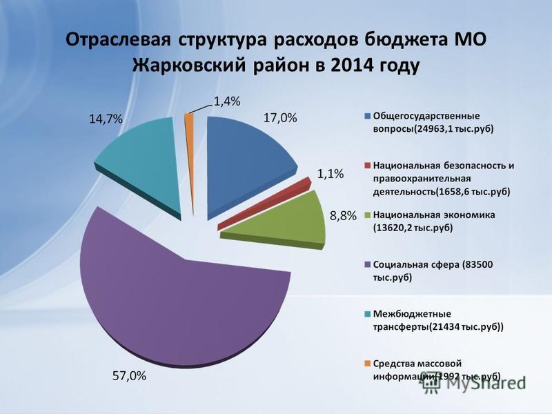 Отраслевая структура расходов бюджета МО Жарковский район в 2014 году