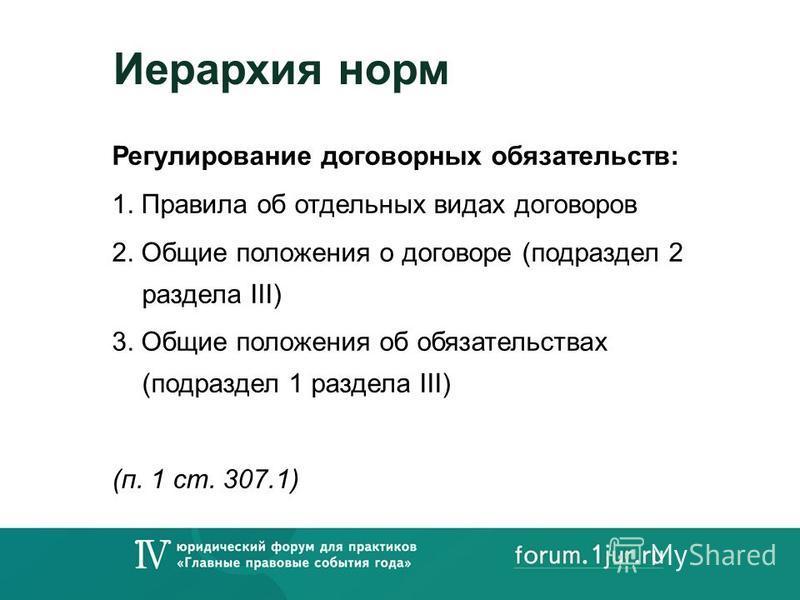 Иерархия норм Регулирование договорных обязательств: 1. Правила об отдельных видах договоров 2. Общие положения о договоре (подраздел 2 раздела III) 3. Общие положения об обязательствах (подраздел 1 раздела III) (п. 1 ст. 307.1)