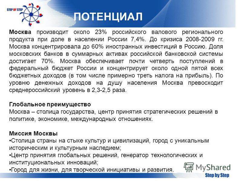ПОТЕНЦИАЛ Москва производит около 23% российского валового регионального продукта при доле в населении России 7,4%. До кризиса 2008-2009 гг. Москва концентрировала до 60% иностранных инвестиций в Россию. Доля московских банков в суммарных активах рос
