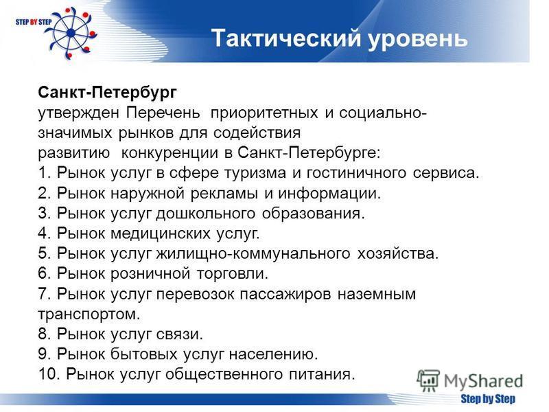 Тактический уровень Санкт-Петербург утвержден Перечень приоритетных и социально- значимых рынков для содействия развитию конкуренции в Санкт-Петербурге: 1. Рынок услуг в сфере туризма и гостиничного сервиса. 2. Рынок наружной рекламы и информации. 3.