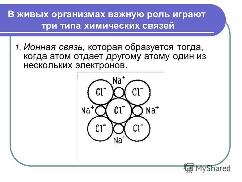 1. Ионная связь, которая образуется тогда, когда атом отдает другому атому один из нескольких электронов. В живых организмах важную роль играют три типа химических связей