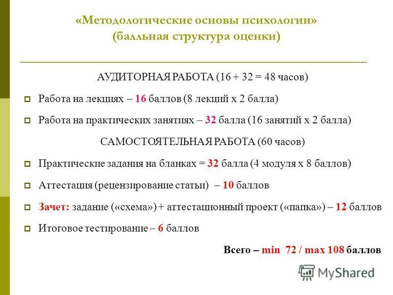 «Методологические основы психологии» (балльная структура оценки) АУДИТОРНАЯ РАБОТА (16 + 32 = 48 часов) Работа на лекциях – 16 баллов (8 лекций х 2 балла) Работа на практических занятиях – 32 балла (16 занятий х 2 балла) САМОСТОЯТЕЛЬНАЯ РАБОТА (60 ча