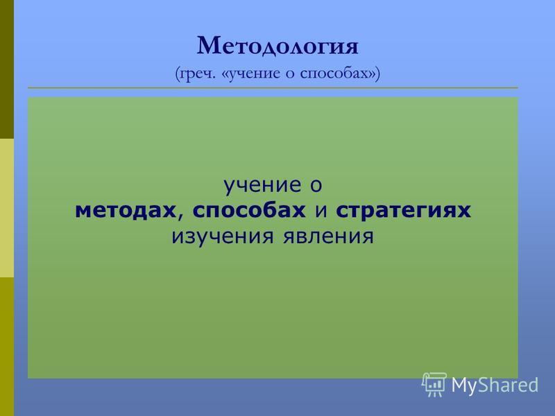 Методология (греч. «учение о способах») учение о методах, способах и стратегиях изучения явления