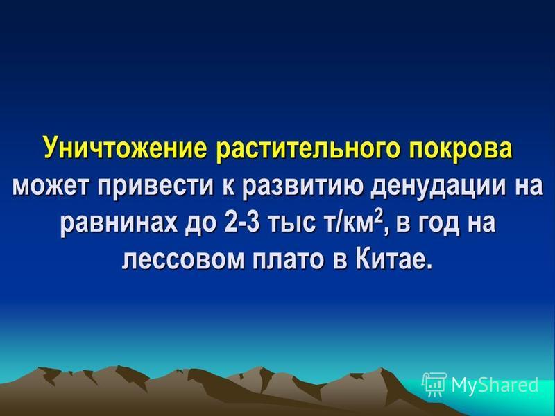 Механический вынос твердого материала достигает максимума своего выноса в горах: в Средней Азии до 2500 т/км 2 ; на Кавказе – 4000-5000 т/км 2, что эквивалентно слою более 2 мм в год.