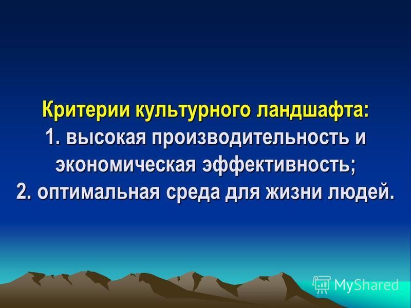 Среди ландшафтов выделяют: 1. условно неизмененные (первобытные ландшафты); 2. слабо измененные ландшафты; 3. нарушенные (сильно измененные ландшафты); 4. культурные ландшафты.