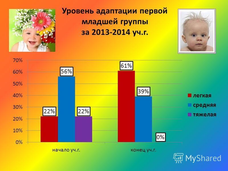 Уровень адаптации первой младшей группы за 2013-2014 уч.г.