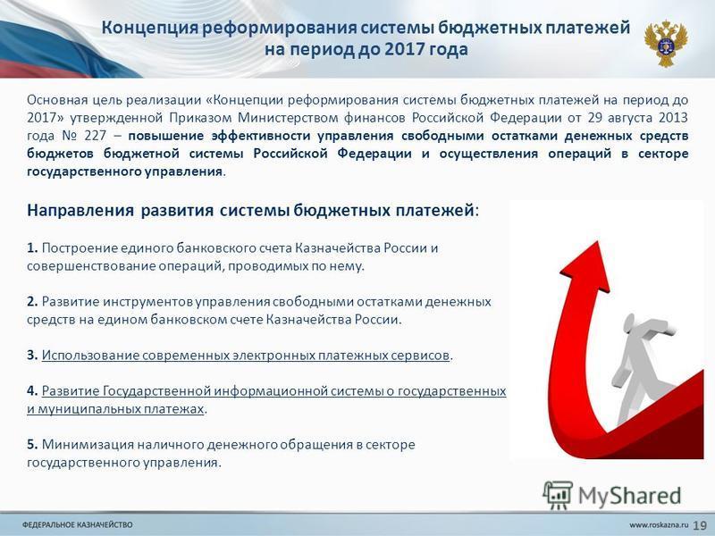 19 Концепция реформирования системы бюджетных платежей на период до 2017 года Направления развития системы бюджетных платежей: 1. Построение единого банковского счета Казначейства России и совершенствование операций, проводимых по нему. 2. Развитие и