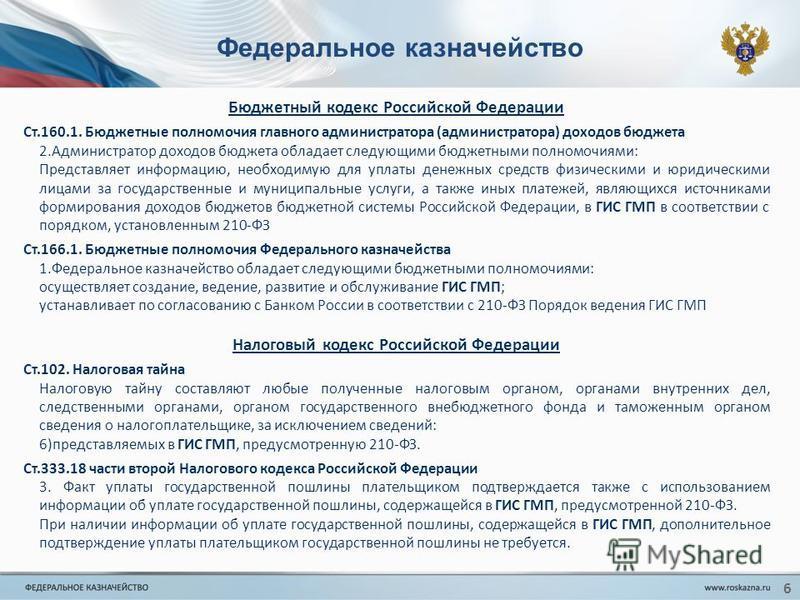 Федеральное казначейство Бюджетный кодекс Российской Федерации Ст.160.1. Бюджетные полномочия главного администратора (администратора) доходов бюджета 2. Администратор доходов бюджета обладает следующими бюджетными полномочиями: Представляет информац