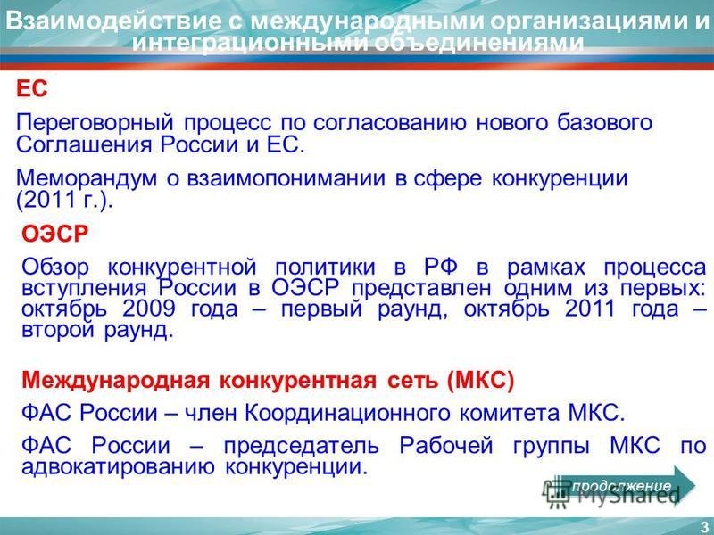 Взаимодействие с международными организациями и интеграционными объединениями 3 ОЭСР Обзор конкурентной политики в РФ в рамках процесса вступления России в ОЭСР представлен одним из первых: октябрь 2009 года – первый раунд, октябрь 2011 года – второй