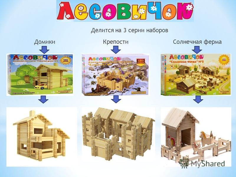 Делится на 3 серии наборов Домики КрепостиСолнечная ферма