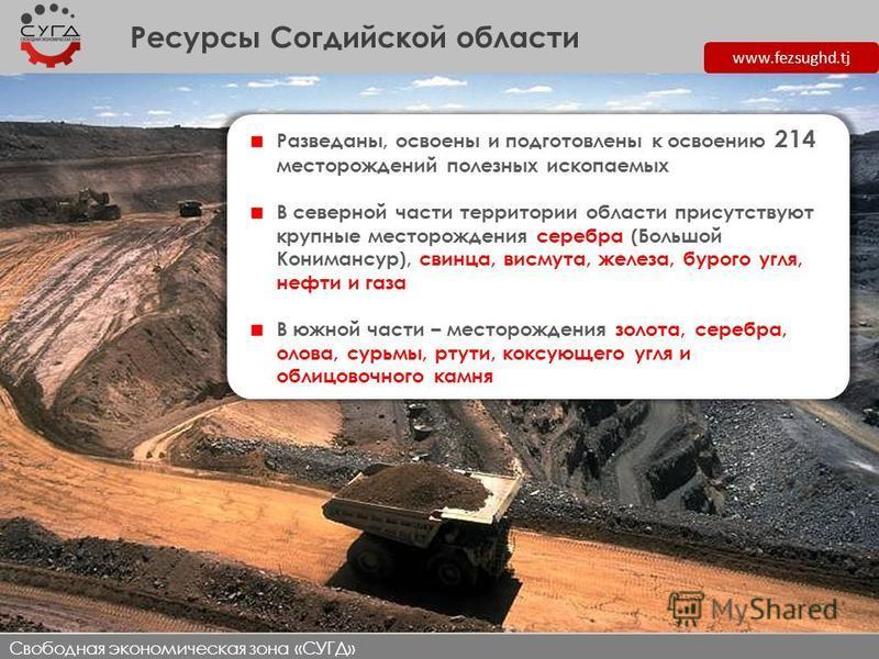Ресурсы Согдийской области www.fezsughd.tj Разведаны, освоены и подготовлены к освоению 214 месторождений полезных ископаемых В северной части территории области присутствуют крупные месторождения серебра (Большой Конимансур), свинца, висмута, железа