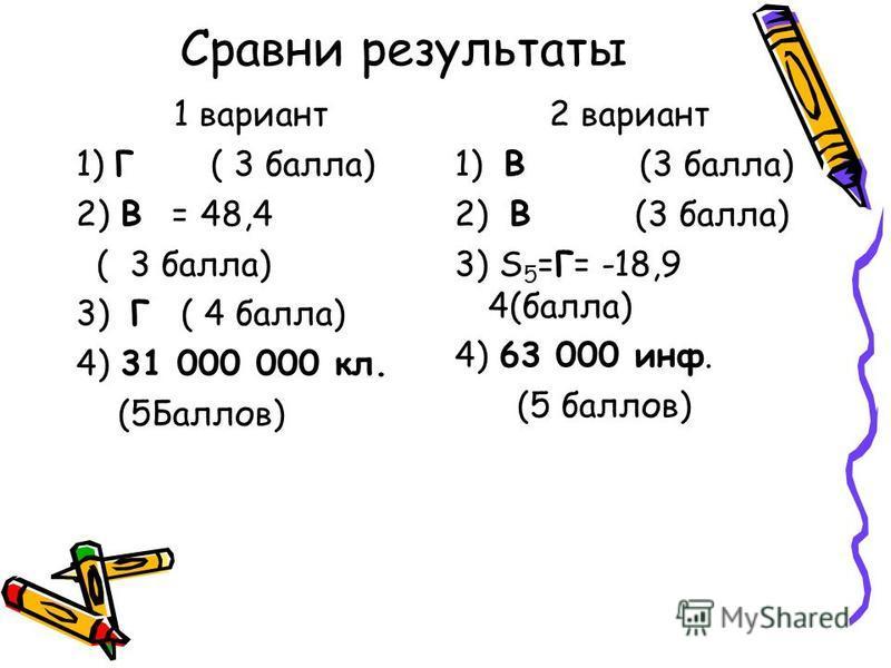 Сравни результаты 1 вариант 1) Г ( 3 балла) 2) В = 48,4 ( 3 балла) 3) Г ( 4 балла) 4) 31 000 000 кл. (5Баллов) 2 вариант 1) В (3 балла) 2) В (3 балла) 3) S 5 =Г= -18,9 4(балла) 4) 63 000 инф. (5 баллов)