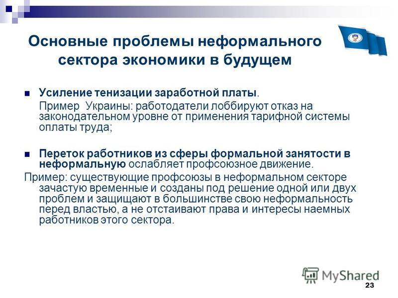 23 Основные проблемы неформального сектора экономики в будущем Усиление тонизации заработной платы. Пример Украины: работодатели лоббируют отказ на законодательном уровне от применения тарифной системы оплаты труда; Переток работников из сферы формал