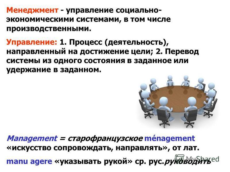Менеджмент - управление социально- экономическими системами, в том числе производственными. Управление: 1. Процесс (деятельность), направленный на достижение цели; 2. Перевод системы из одного состояния в заданное или удержание в заданном. Management