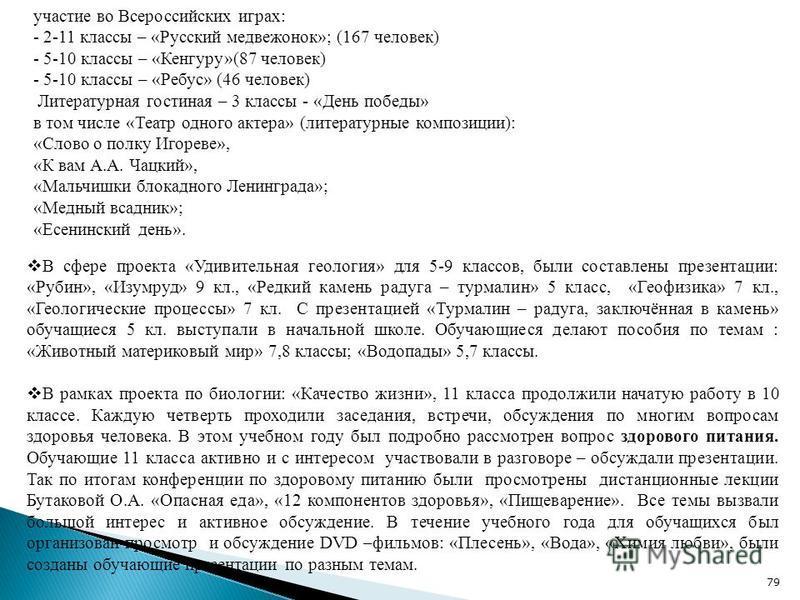 участие во Всероссийских играх: - 2-11 классы – «Русский медвежонок»; (167 человек) - 5-10 классы – «Кенгуру»(87 человек) - 5-10 классы – «Ребус» (46 человек) Литературная гостиная – 3 классы - «День победы» в том числе «Театр одного актера» (литерат