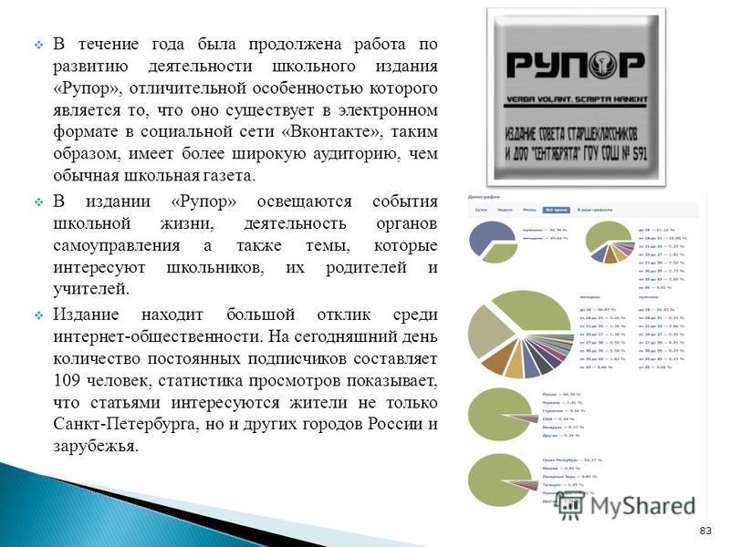 В течение года была продолжена работа по развитию деятельности школьного издания «Рупор», отличительной особенностью которого является то, что оно существует в электронном формате в социальной сети «Вконтакте», таким образом, имеет более широкую ауди
