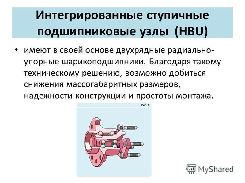 Интегрированные ступичные подшипниковые узлы (HBU) имеют в своей основе двухрядные радиально- упорные шарикоподшипники. Благодаря такому техническому решению, возможно добиться снижения массогабаритных размеров, надежности конструкции и простоты монт