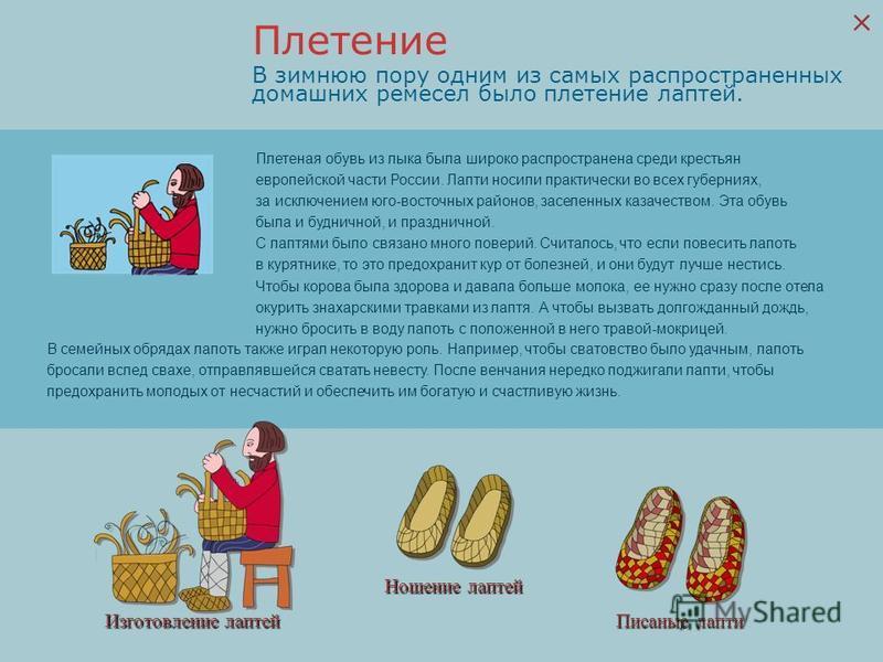 Изготовление лаптей Ношение лаптей Писаные лапти В зимнюю пору одним из самых распространенных домашних ремесел было плетение лаптей. Плетеная обувь из лыка была широко распространена среди крестьян европейской части России. Лапти носили практически